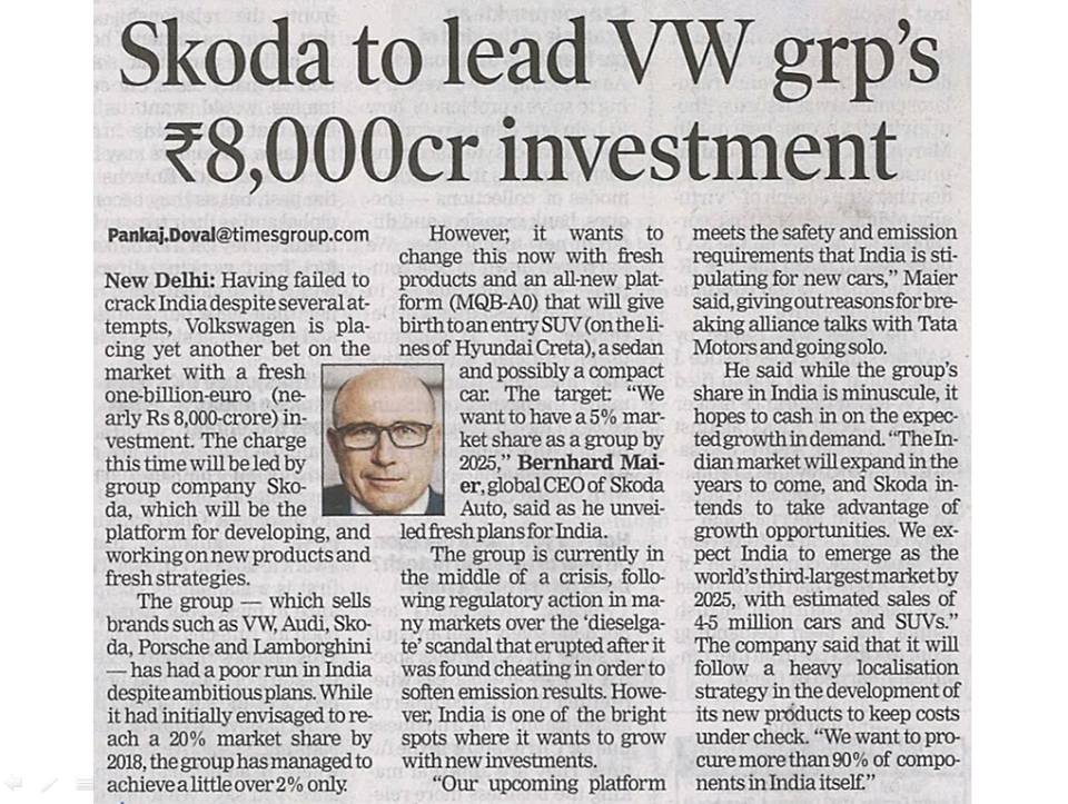 Skoda to lead VW grp's Rs. 8,000cr investment..!
