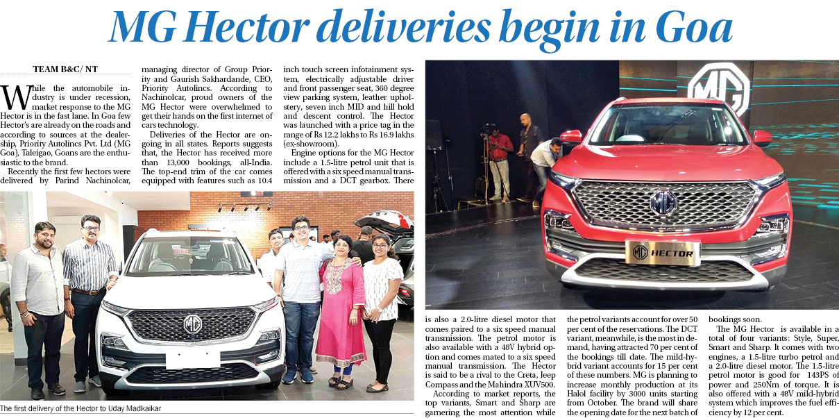 MG Hector deliveries begin in Goa
